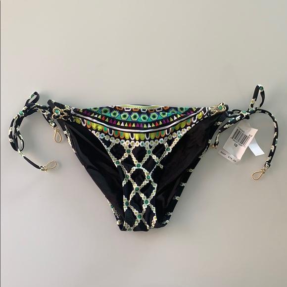 NWT Trina Turk string bikini bottom gold accents